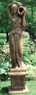 Grecian Woman with Pitcher Piped Statue with Pedestal
