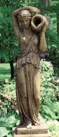 Grecian Woman with Pitcher Piped Statue