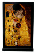 Kiss by Gustav Klimt Art Glass Panel on Wood Display Base
