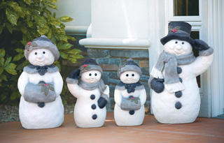 Hand Painted Snowman Family Garden Statues