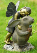 Happiness Garden Sculpture Fairy and Rabbit