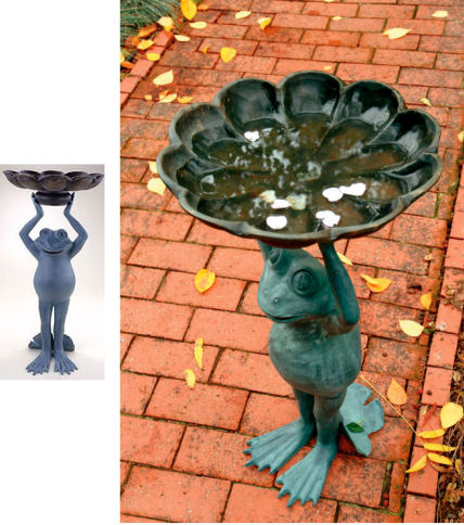 Happy Frog Birdbath Sculpture