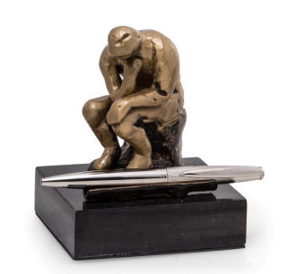 Thinker by Rodin Pen Holder Sculpture