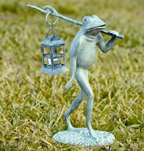 Frog Walking with Lantern Tealight Sculpture