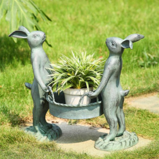 Pair of Rabbits Plant Holder Garden Statue