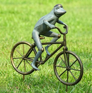 Frog Riding Bicycle Garden Statue
