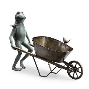 Frog with Wheel Barrel Garden Planter Sculpture