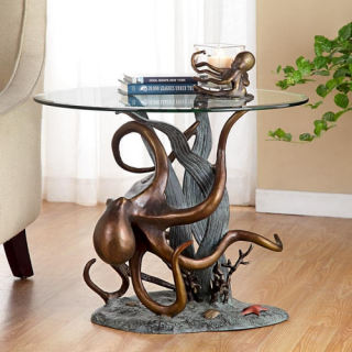 Octopus and Seagrass Sculptural End Table