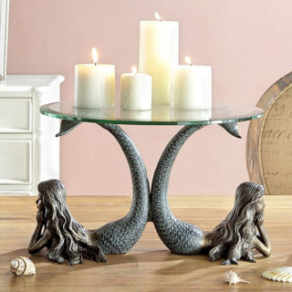 Mermaids Table Server Candleholder Statue