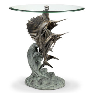 Marlin and Sailfish End Table Sculpture