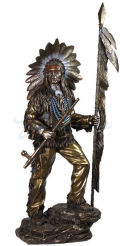 Indian Chief with Feathered Spear and Peace Pipe Statue Large