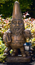 Gnome with Lantern Large Cement Garden Sculpture