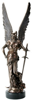 Greek Goddess Winged Victory with Sword Statue