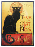 Le Chat Noir Glass Art by Steinlen Hanging Sculpture