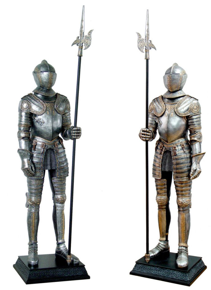Life-Size Knights Suit of Armor Statues Set