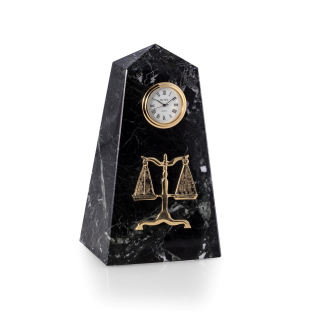 Legal Clock Black Marble Scales of Justice