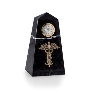 Medical Caduceus Clock Obelisk Statue