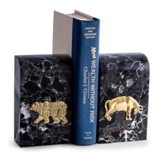 Stock Market Bear Bull Bookends, Marble