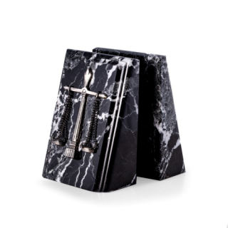 Legal Scales Bookends Black Marble