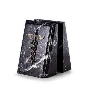 Medical Caduceus Bookends Black Marble