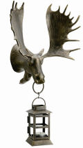 Moose Head Wall Mounted Lantern Sculpture