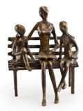 Mother Reading to Children on Bench Bronze Statue