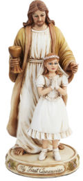 My First Communion Jesus with Girl Statue  11.5
