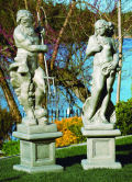 Neptune & Venus of the Sea Lifesize Sculptures On Pedestals