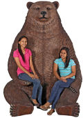 Oversized Brown Bear Statue with Paw Seat