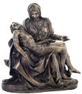 Large Pieta Sculpture in Bronze Color