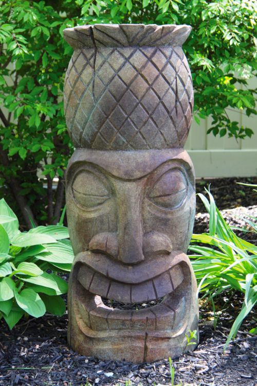 Pineapple Tiki Face Garden Sculpture