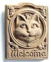 Plaque of Welcome Cat Sculpture