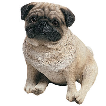 Pug Fawn Sitting Dog Sculpture