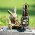 Rabbit Reading Garden Lantern for candle Sculpture