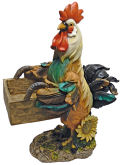 Rooster with Box Birdfeeder Sculpture