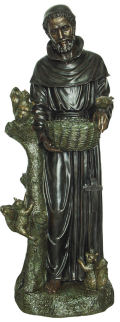 Garden Saint Francis Sculpture With Animals Bird Feeder
