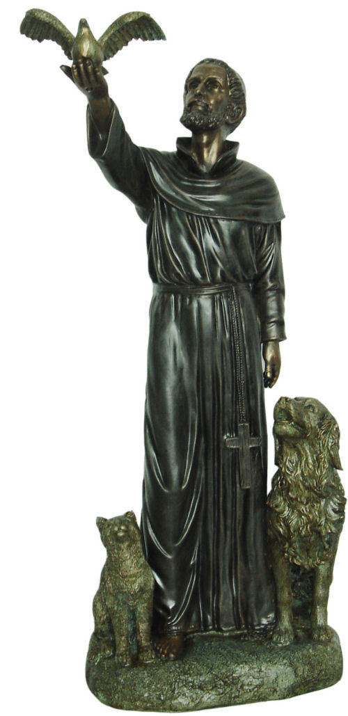 Garden Statue St Francis: Garden Saint Francis With Dove With Cat & Dog Statue