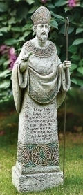 Saint Patrick Celtic Garden Statue with Verse