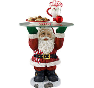 Santa Claus Sculpture Glass-Topped Holiday Table