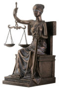 Seated Blind Lady Justice Statue