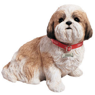 Shih Tzu Gold & White Dog Sculpture