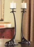 Pair of Sitting Giraffes Candle Holder Sculptures