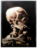 Skeleton with Cigarette Art Glass Hanging by Van Gogh