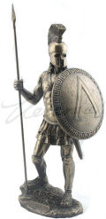 Spartan Warrior with Spear and Hoplite Shield Statue