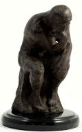 Thinker By Rodin Statue Bronze On Marble Base