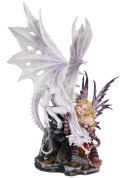 Fairy with White Dragon Sculpture 23