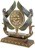 Wings of Isis Egyptian Revival Clock Sculpture