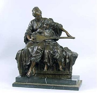 Mother And Child With Instrument Bronze Sculpture