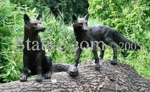 Fox Pair Bronze Sculptures