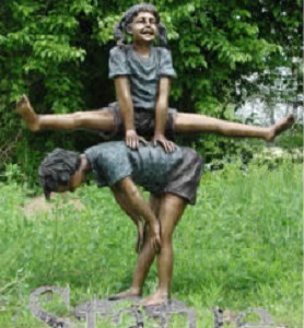 Boy And Girl Playing Leapfrog Bronze Garden Sculpture